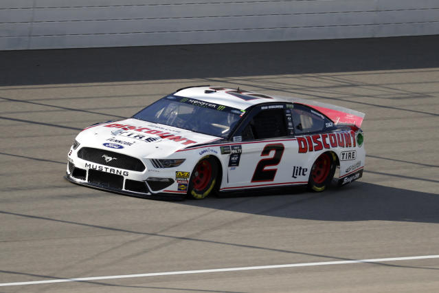Brad Keselowski qualifies for a NASCAR Cup Series auto race at Michigan International Speedway in Brooklyn, Mich., Friday, Aug. 9, 2019. Keselowski won the pole position. (AP Photo/Paul Sancya)