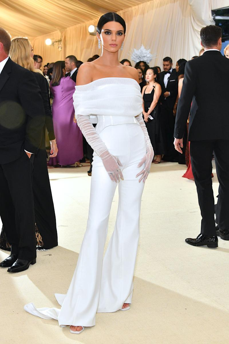 f8521e36 Kendall Jenner Wore a White Jumpsuit to the Met Gala 2018