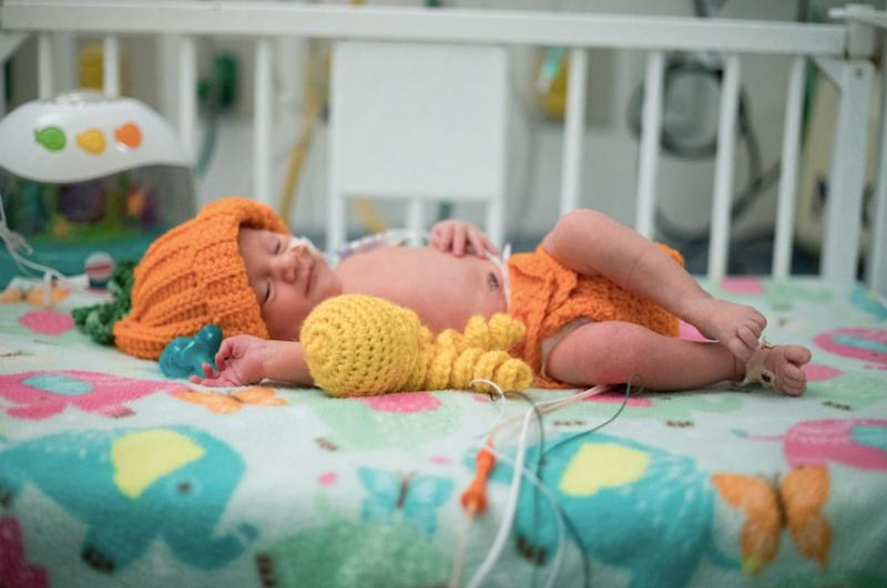 Nurse Tara Frankhauser at Children's Healthcare of Atlanta decided to knit costumes for the babies in the NICU.
