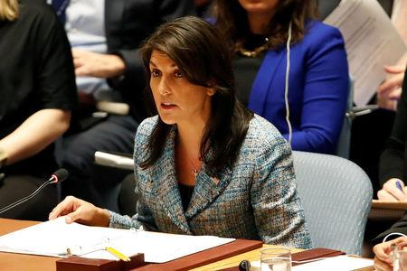United States Ambassador to the United Nations Nikki Haley addresses the U.N. Security Council on Syria during a meeting of the Council at U.N. headquarters in New York