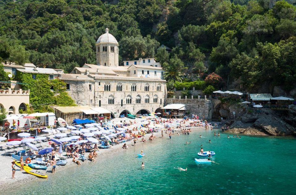 <p>San Fruttuoso on the northern-coast of Italy is a real hidden gem. The beach is backed by the impressive Benedictine monastery, but the real draw is the bronze Christ of the Abyss statue that can be found under the water.</p>