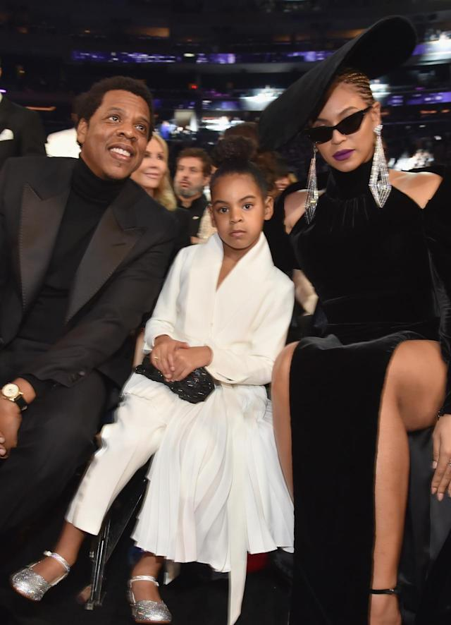 "<p>Blue stole the internet on Sunday when footage of her telling her parents to <a href=""https://www.yahoo.com/lifestyle/things-beyonce-jay-z-blue-ivy-carter-made-headlines-grammys-175235434.html"" data-ylk=""slk:take their clapping down a notch;outcm:mb_qualified_link;_E:mb_qualified_link"" class=""link rapid-noclick-resp newsroom-embed-article"">take their clapping down a notch</a> went viral. Between that rocking those silver, high-heeled shoes — at 6! — the kid, looking quite comfortable in her prime spot, got a lot of attention. (Photo: Getty Images) </p>"
