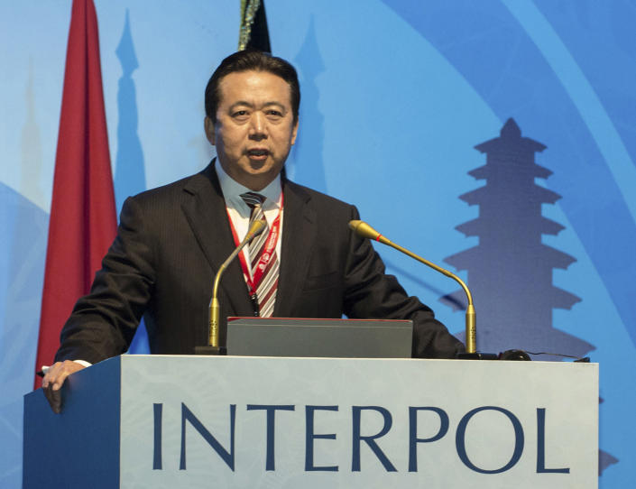 FILE - In this Nov. 10, 2016 file photo, released by Xinhua News Agency, then China's Vice Minister of Public Security Meng Hongwei delivers a campaign speech at the 85th session of the general assembly of the International Criminal Police Organization (Interpol), in Bali, Indonesia. China detained the now former Interpol chief, who was taken into custody upon arriving in Beijing late Sept. 2018, the latest in a number of Chinese figures who went missing only to appear in court accused of corruption. The disappearance of Saudi Journalist Jamal Khashoggi, during a visit to his country's consulate in Istanbul on Oct. 2, 2018, raises a dark question for anyone who dares criticize governments or speak out against those in power: Will the world have their back? (Du Yu/Xinhua via AP, File)
