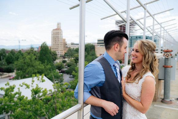 Newlyweds Amanda and Sean Magee after their Asheville, North Carolina, city hall elopement. (Blue Bend Photography)