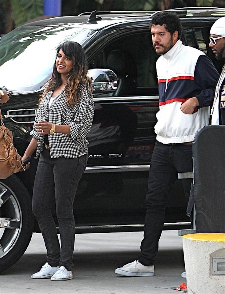 "Looks like singer M.I.A. and husband Benjamin Brewer coordinated the bottom half of their outfits. Zodiac/Fapian/<a href=""http://www.splashnewsonline.com"" target=""new"">Splash News</a> - May 27, 2009"