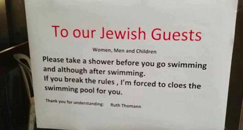 Hotel sparks outrage over anti-Semetic swimming pool sign