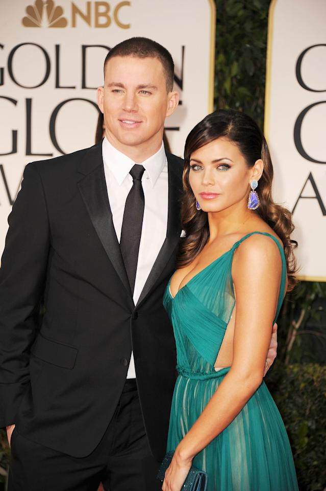 BEVERLY HILLS, CA - JANUARY 15:  Actors Channing Tatum and Jenna Dewan-Tatum arrive at the 69th Annual Golden Globe Awards held at the Beverly Hilton Hotel on January 15, 2012 in Beverly Hills, California.  (Photo by Frazer Harrison/Getty Images)