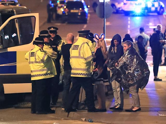 The scene close to the Manchester Arena after the terror attack at an Ariana Grande concert (PA)