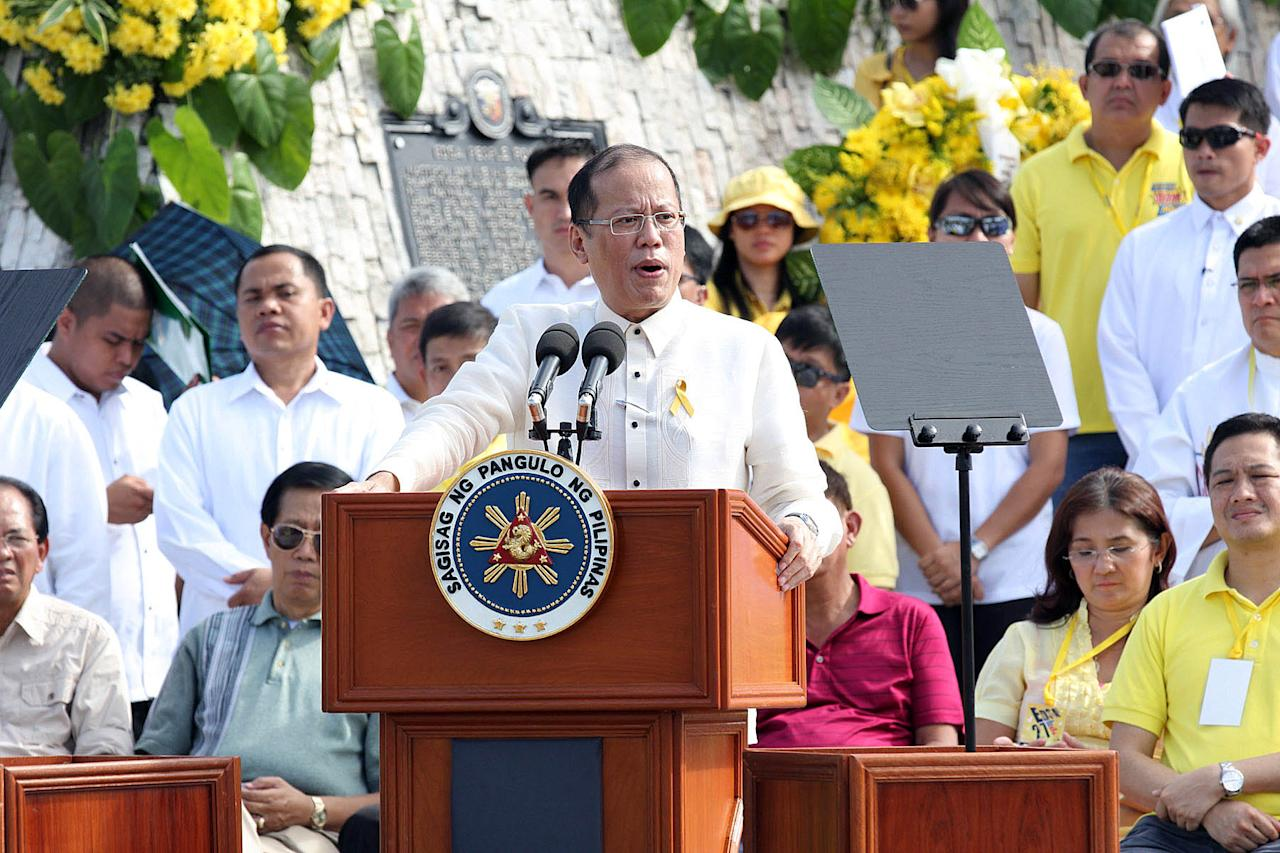 President Benigno Aquino III delivers his speechduring the 27th anniversary of EDSA 1 People Power Revolution in Quezon City, north of Manila on 25 February 2013. EDSA People Power Revolution also known as the EDSA Revolution, or People Power) was a four-day series of non-violent mass demonstrations that toppled the Marcos dictatorship and installed Corazon Aquino as president in 1986. (Czeasar Dancel/NPPA Images)