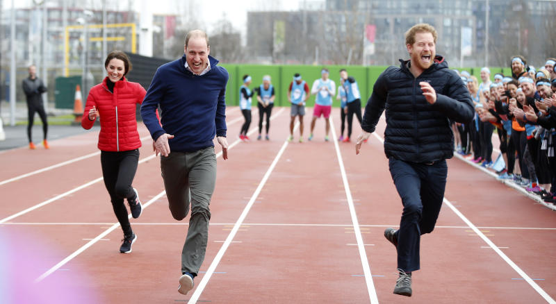 Catherine, Duchess of Cambridge, Prince William, Duke of Cambridge and Prince Harry race during a Marathon Training Day with Team Heads Together at the Queen Elizabeth Olympic Park on February 5, 2017 in London, England.