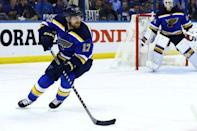 May 23, 2016; St. Louis, MO, USA; St. Louis Blues left wing Jaden Schwartz (17) skates with the puck against the San Jose Sharks in game five of the Western Conference Final of the 2016 Stanley Cup Playoffs at Scottrade Center. Mandatory Credit: Billy Hurst-USA TODAY Sports