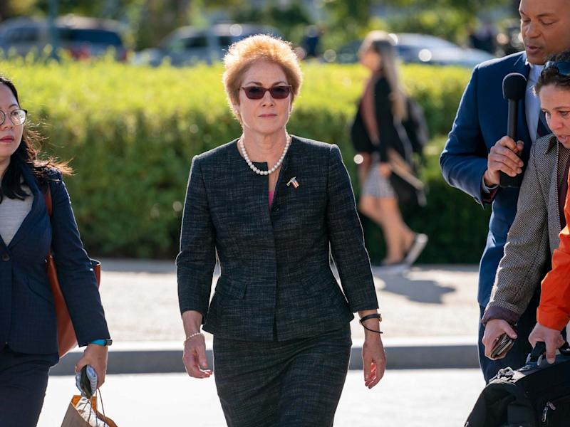 Former US ambassador to Ukraine Marie Yovanovitch arrives on Capitol Hill to testify in the impeachment inquiry: APAP Photo/J Scott Applewhite
