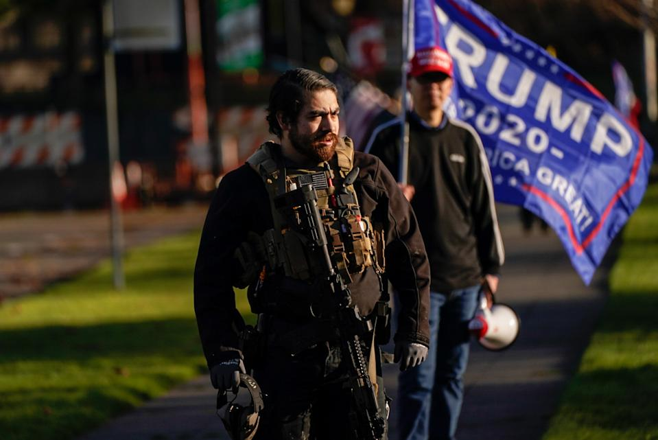 Trump supporters have descended on DC, clashing with rivals and police. Source: Getty