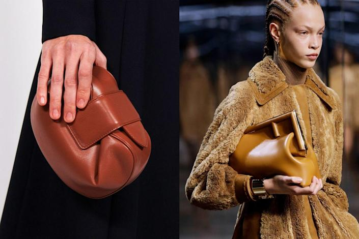 <p>Reminiscent of the chic Bottega Veneta clutch Lauren Hutton so nonchalantly tucked under her arm in the movie <em>American Giglio</em>, the effortless daytime clutch is becoming a crucial wardrobe staple. Having surfaced on the runway a few seasons ago, the casual clutch has made its way back into the spotlight at Gabriella Hearst (<em>left</em>) and Fendi <em>(right</em>). Look for this in casual materials like suede and leather for more day-to-night wear, versus typical evening fabrics like satin or a sparkly lamé.</p>