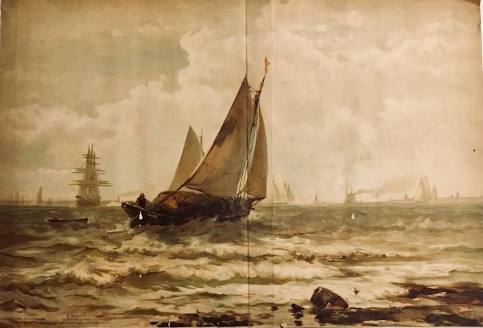 """Edward Moran's """"A Marine"""" from the 1880s was apparently the source for Edward Hopper's """"Ships."""" A grad student's discovery """"cuts straight through the widely held perception of Hopper as an American original,"""" without a debt to others, a Whitney curator said."""