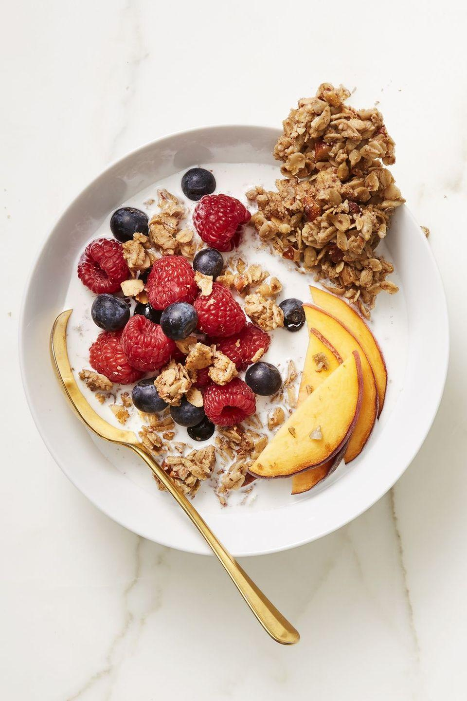 "<p>Milk, yogurt or just on it's own — there are so many ways to eat these sweet, maple granola.<br></p><p><em><a href=""https://www.goodhousekeeping.com/food-recipes/easy/a45235/sweet-salty-maple-granola-bark-recipe/"" rel=""nofollow noopener"" target=""_blank"" data-ylk=""slk:Get the recipe for Sweet and Salty Maple Granola Bark »"" class=""link rapid-noclick-resp"">Get the recipe for Sweet and Salty Maple Granola Bark »</a></em></p>"