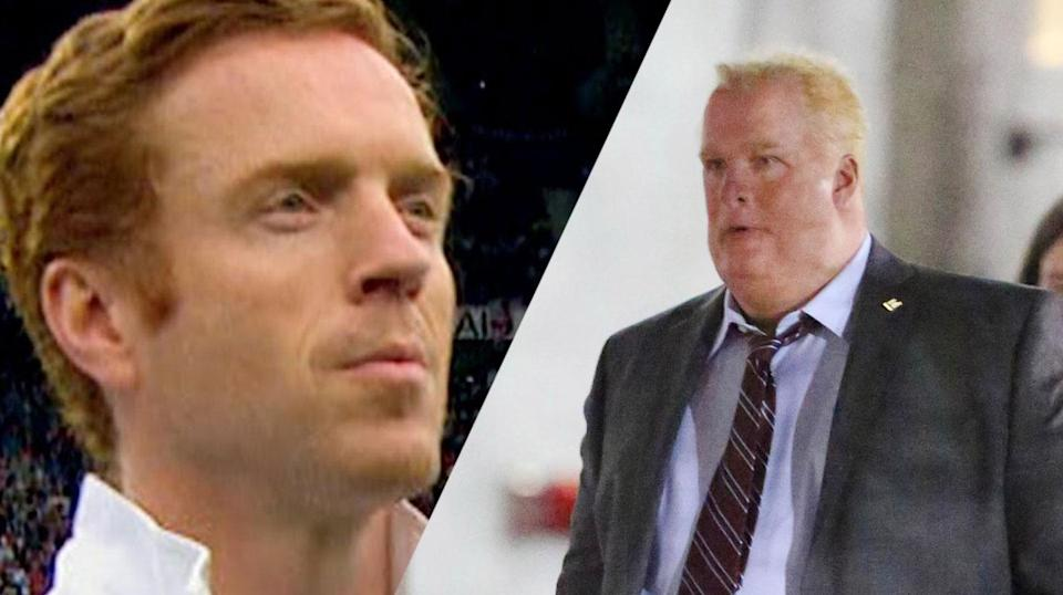<p>Damian Lewis looks like a completely different human under heavy make-up and prosthetics to play former Mayor of Toronto, the late Rob Ford. </p>