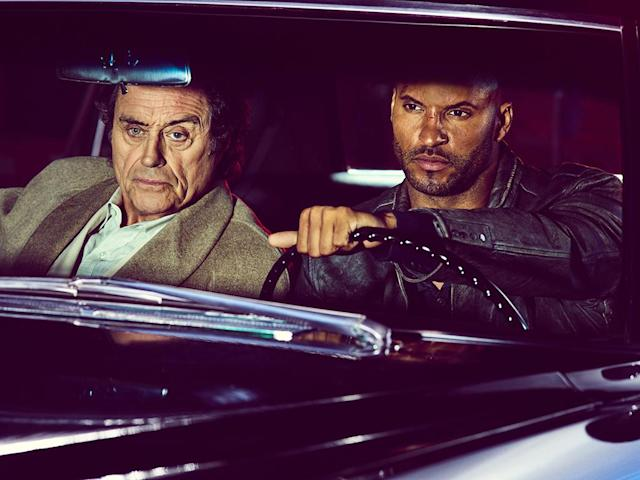 <p>Ian McShane as Mr Wednesday and Ricky Whittle as Shadow Moon in Starz' <i>American Gods</i>.<br><br>(Photo: Starz) </p>