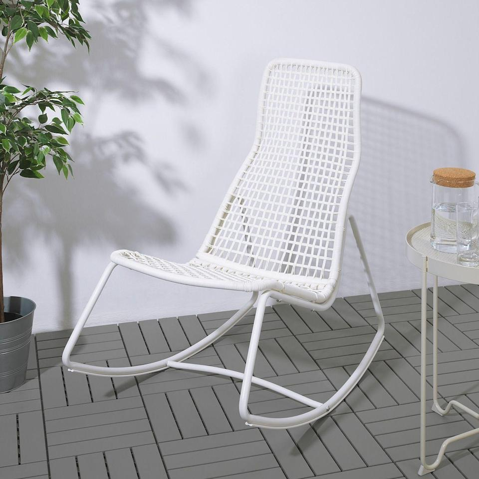"""<p><strong>IKEA</strong></p><p>ikea.com</p><p><strong>$89.00</strong></p><p><a href=""""https://go.redirectingat.com?id=74968X1596630&url=https%3A%2F%2Fwww.ikea.com%2Fus%2Fen%2Fp%2Fgubboen-rocking-chair-in-outdoor-white-00469035%2F&sref=https%3A%2F%2Fwww.countryliving.com%2Fshopping%2Fgifts%2Fg32937533%2Foutdoor-rocking-chairs%2F"""" rel=""""nofollow noopener"""" target=""""_blank"""" data-ylk=""""slk:Shop Now"""" class=""""link rapid-noclick-resp"""">Shop Now</a></p><p>A price so low you can afford to fill your back deck with them. Made from powder-coated steel, they'll stand up to the elements.</p>"""