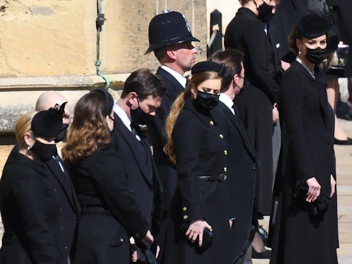 family waits for procession prince philip funeral