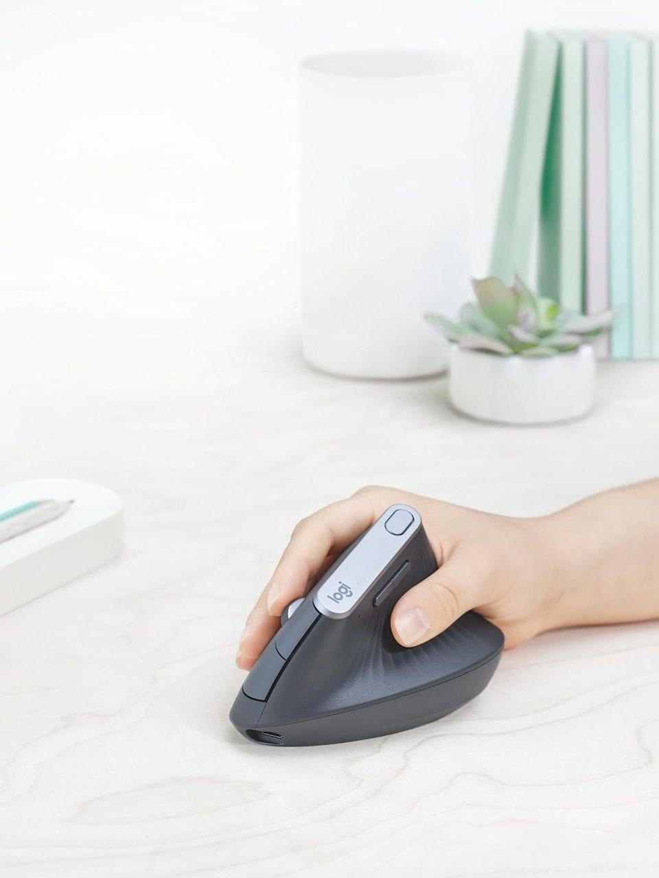 Logitech's MX Vertical Advanced Ergonomic Mouse ($99) features a 57-degree vertical angle that allows for a 'handshake' grip for greater comfort.