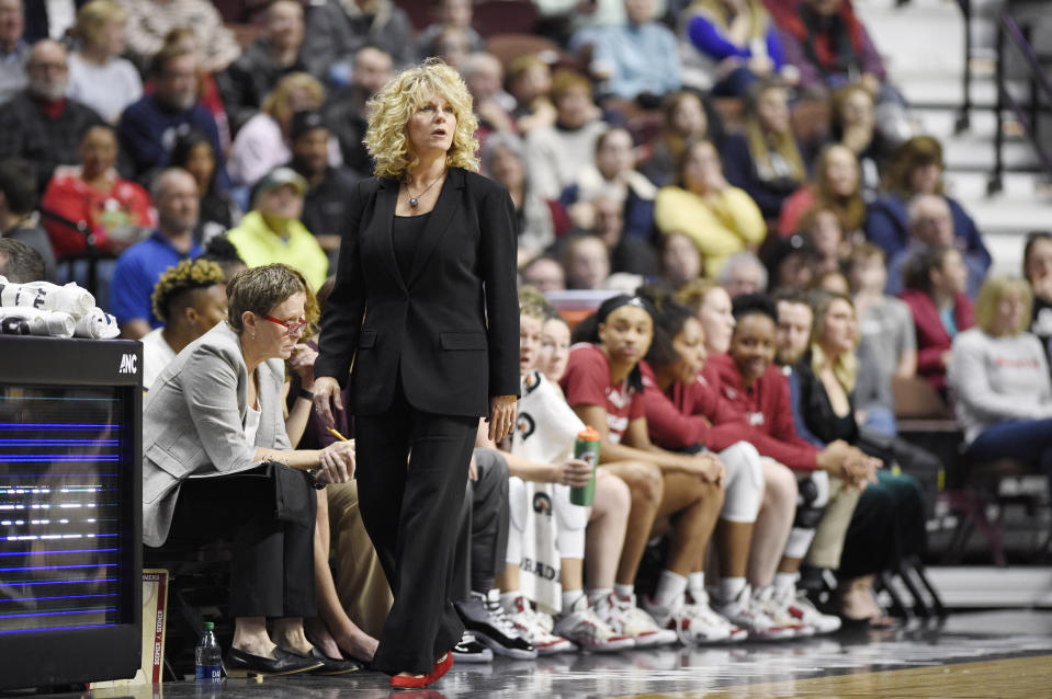 Several former players called out Oklahoma coach Sherri Coale for racist and insensitive comments on Twitter last weekend. (AP Photo/Jessica Hill)