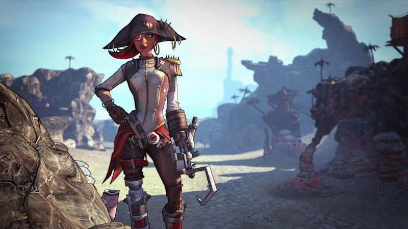 """This undated publicity image released by 2K Games shows """"Captain Scarlett and Her Pirate's Booty"""" downloadable content in the video game, """"Borderlands 2."""" The pirate-themed add-on campaign is setting sail Tuesday, Oct. 16, 2012, for the Gearbox Software shoot-and-loot sequel released by 2K Games last month. The downloadable content focuses on the one-eyed pirate queen Captain Scarlett and is set amid an expansive desert that features a bandit-filled shanty town called Oasis. (AP Photo/2K Games)"""