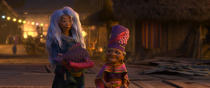 """Animated character Sisu, voiced by Awkwafina, left, appears with Dang Hu, voiced by Lucille Soong, in a scene from """"Raya and the Last Dragon."""" (Disney+ via AP)"""