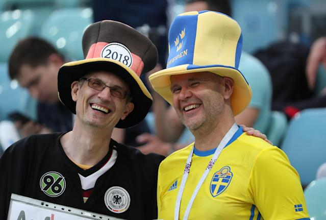 Soccer Football - World Cup - Group F - Germany vs Sweden - Fisht Stadium, Sochi, Russia - June 23, 2018 Germany and Sweden fans in the stadium before the match REUTERS/Francois Lenoir