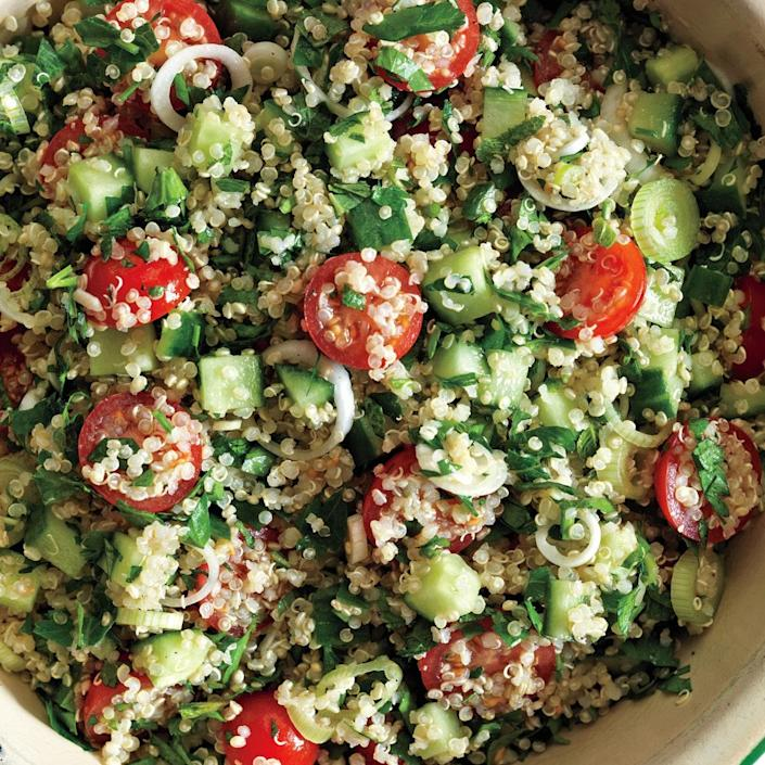 """This recipe, inspired by the classic Middle Eastern salad, switches to quinoa—but keeps the flavorful green herbs. <a href=""""https://www.epicurious.com/recipes/food/views/quinoa-tabbouleh-395939?mbid=synd_yahoo_rss"""" rel=""""nofollow noopener"""" target=""""_blank"""" data-ylk=""""slk:See recipe."""" class=""""link rapid-noclick-resp"""">See recipe.</a>"""