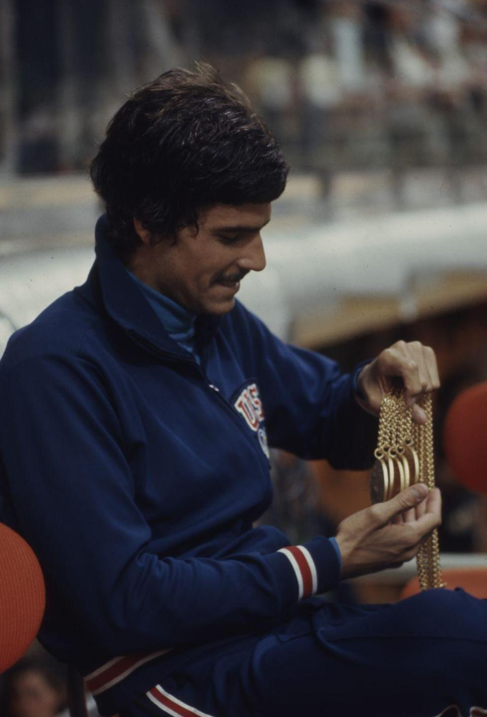 <p>Back in 1972, Mark Spitz was the hotshot on the American team, winning a total of seven gold medals at the Munich games for swimming.</p>