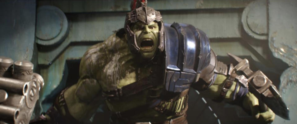 Hulk is armored up to battle Thor in <i>Ragnarok</i>. (Photo: Marvel Studios)