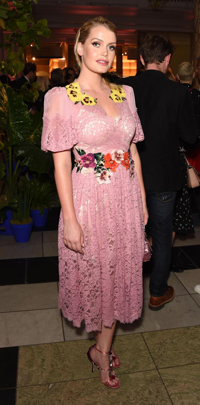 "<p>Kitty Spencer attended a private view of ""Frida Kahlo: Making Her Self Up"" at London's Victoria and Albert Museum wearing a lacy pink Dolce & Gabbana dress. (Photo: Getty Images) </p>"