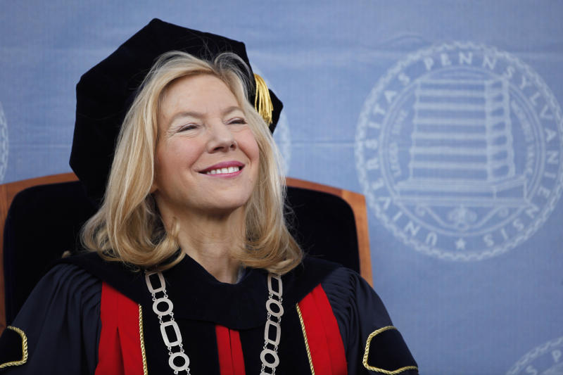 FILE - In this May 18, 2009, file photo,, University of Pennsylvania President Amy Gutmann smiles during commencement in Philadelphia. An annual study released Tuesday, Jan. 14, 2020, by The Chronicle of Higher Education, finds that average pay for private university chiefs grew by 10.5% in 2017. Gutmann's earnings were listed at $2.9 million. (AP Photo/Matt Rourke, File)