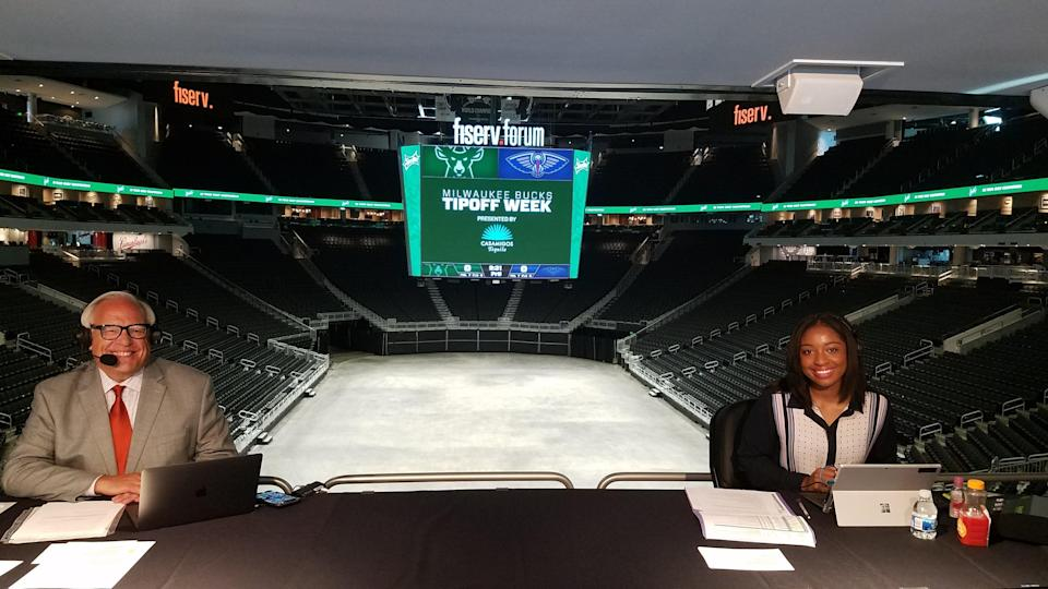 Jim Paschke, left, and Zora Stephenson, right, called the Bucks' three scrimmages from inside Fiserv Forum.