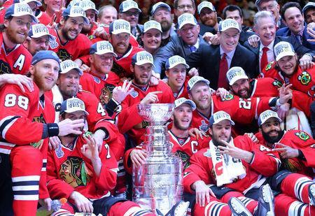 Chicago Blackhawks players pose for a team photo. Mandatory Credit: Dennis Wierzbicki-USA TODAY Sports