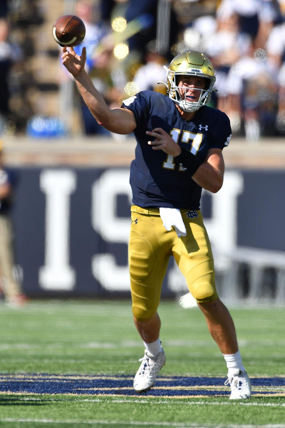 Jack Coan throws for a touchdown in the second quarter against Purdue at Notre Dame Stadium.