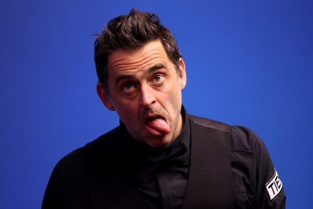 Ronnie O'Sullivan pulls a face during the match