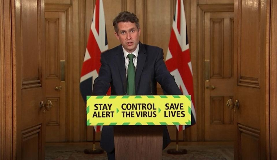 Screen grab of Secretary of State for Education Gavin Williamson during a media briefing in Downing Street, London, on coronavirus (COVID-19).