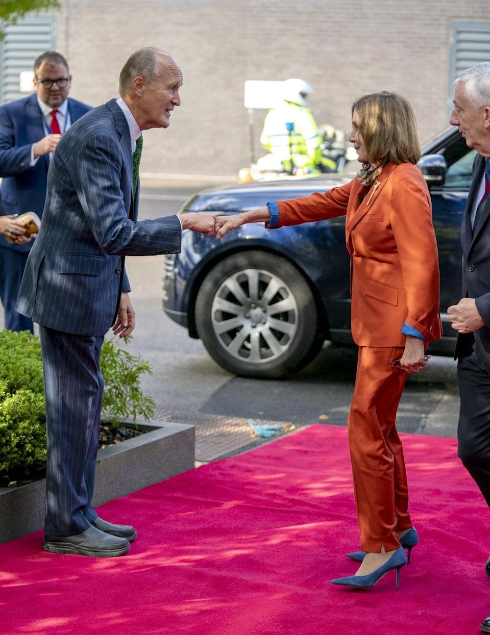 Nancy Pelosi meets the chairman of ITV, Sir Peter Bazalgette (Peter Byrne/PA) (PA Wire)
