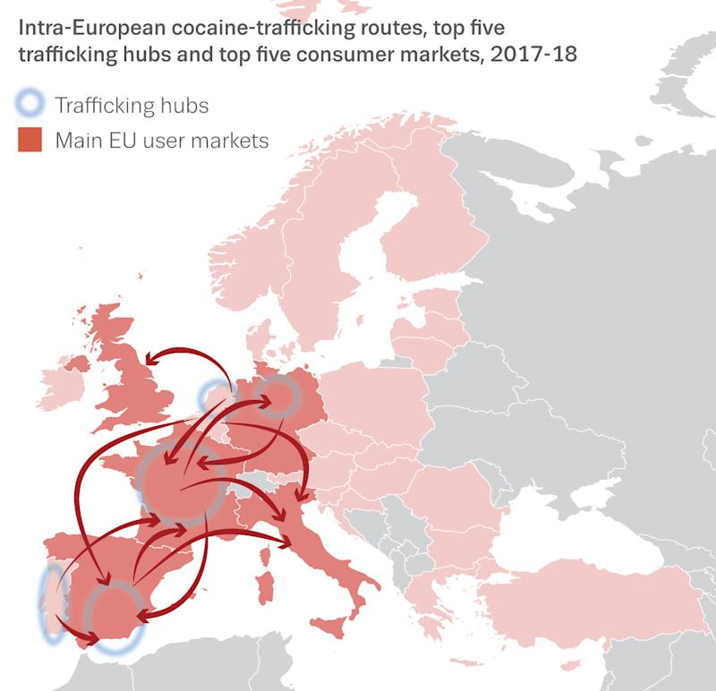 A graphic showing the routes taken to traffick cocaine. (EMCDDA) and Europol/PA)