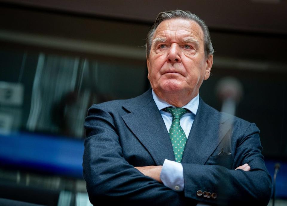 01 July 2020, Berlin: Gerhard Schröder (SPD), former German Chancellor and current Head of the Nord Stream 2 Administrative Board, is waiting for the start of the hearing in the Bundestag's Economic Committee on the Nord Stream 2 pipeline project in the conference room. Photo: Kay Nietfeld/dpa (Photo by Kay Nietfeld/picture alliance via Getty Images)