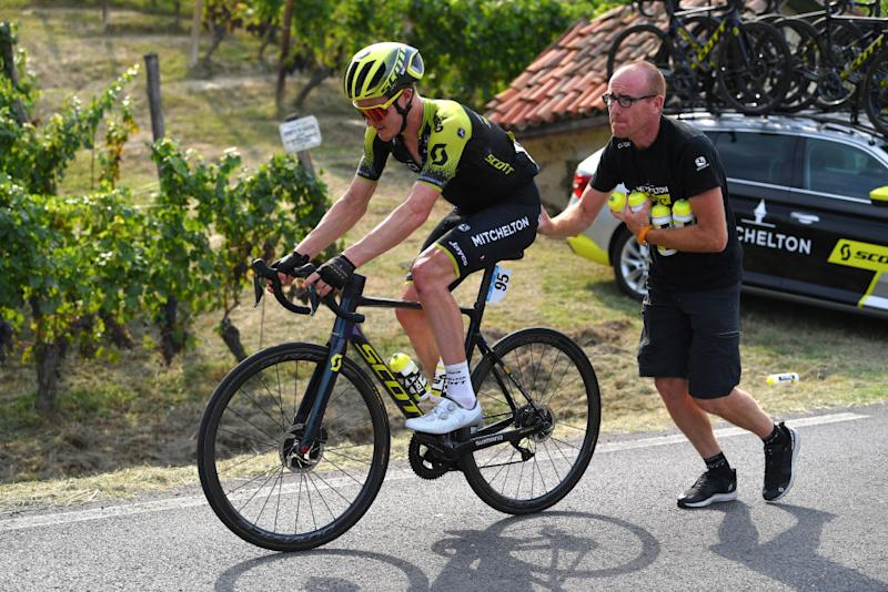 BAROLO ITALY AUGUST 12 Callum Scotson of Australia and Team MitcheltonScott Stopped due cramps Soigneur Breakaway during the 104th Giro del Piemonte 2020 a 187km race from Santo Stefano Belbo to Barolo 294m GranPiemonte GranPiemonte on August 12 2020 Barolo Italy Photo by Tim de WaeleGetty Images
