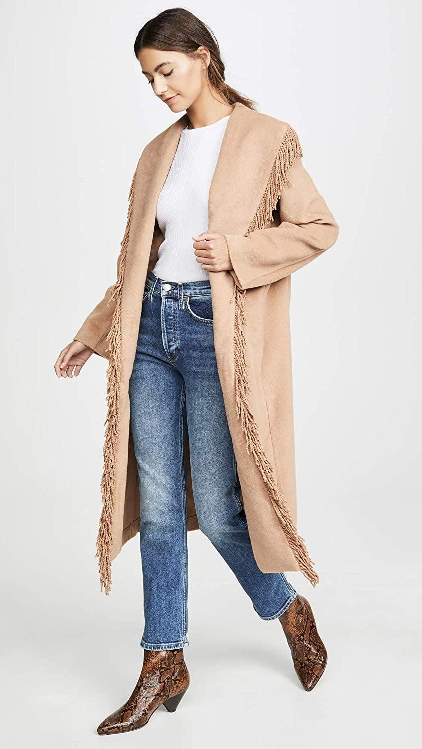 <p>We love the fringe detail on this <span>Line & Dot Linda Fringe Coat</span> ($189).</p>