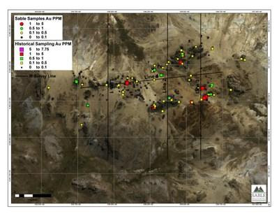 Figure 1 Location of released Sable samples with historic sampling (CNW Group/Sable Resources Ltd.)
