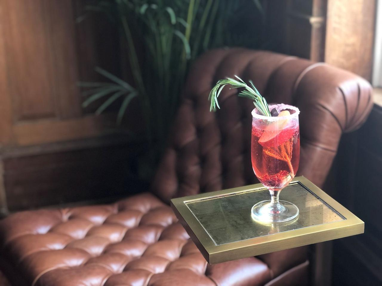 """<p><strong>Recipe:</strong><br>Apple juice<br>Cranberry juice<br>Sprite<br>Cranberries<br>Rosemary<br></p><p><strong>Directions:</strong></p><p>In a glass mix equal parts apple juice and cranberry juice. Add a dash of Sprite. Garnish with cranberries and a sprig of rosemary.<br></p><p><em>From </em><a href=""""https://www.seedlipdrinks.com/"""" target=""""_blank""""></a><em><a href=""""https://www.jekyllclub.com/"""" target=""""_blank"""">Jekyll Island Club Resort</a>, Jekyll Island, Georgia</em></p>"""
