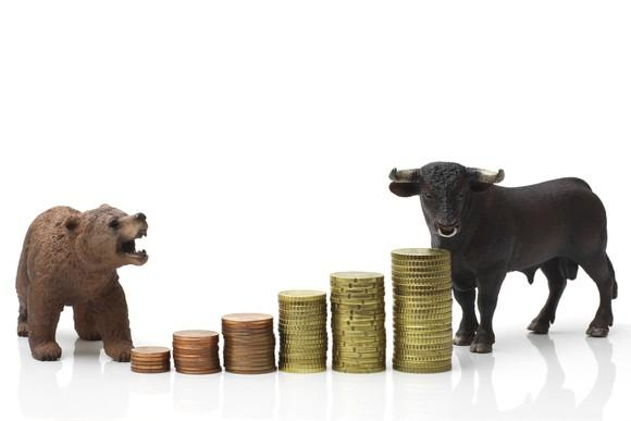 Bear and bull standing near a growing stack of coins