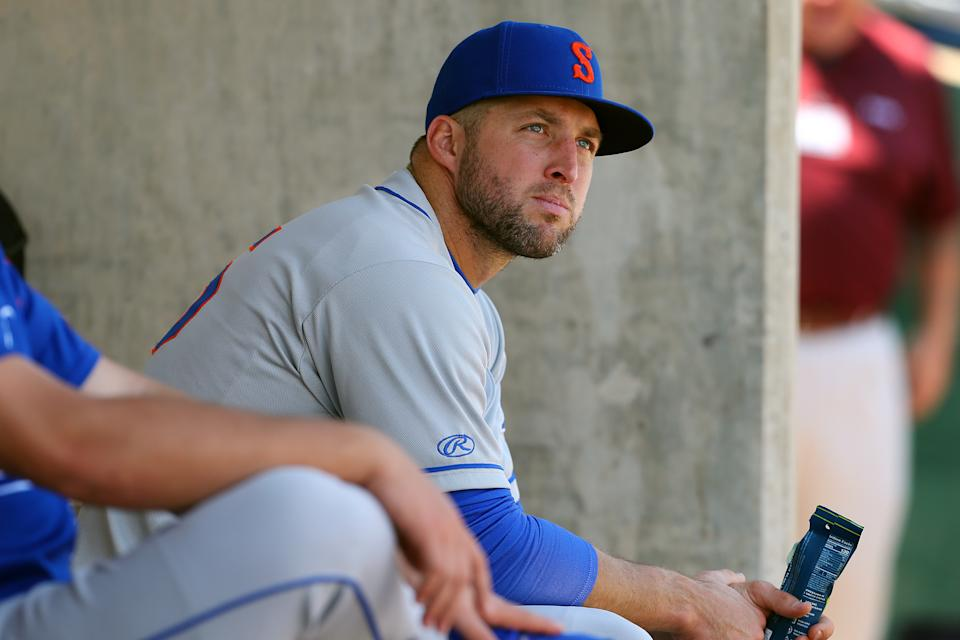 A hand injury will sideline Tim Tebow for the remainder of the baseball season. (Photo by Rich Schultz/Getty Images)