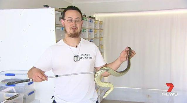 Snake handler Mark Pelley says the father and son are lucky to be alive. Source: 7 News