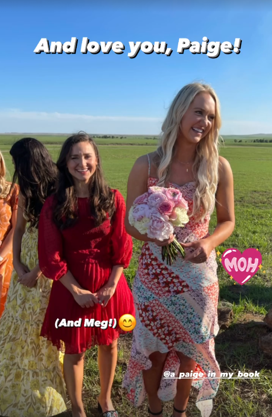 """<p>Paige was so excited to be <a href=""""https://www.thepioneerwoman.com/ree-drummond-life/a33955986/alex-drummond-wedding-maid-of-honor/"""" rel=""""nofollow noopener"""" target=""""_blank"""" data-ylk=""""slk:Alex's maid of honor"""" class=""""link rapid-noclick-resp"""">Alex's maid of honor</a>! The bride's childhood BFF Meg got married a couple years ago—so she was the matron of honor. </p>"""